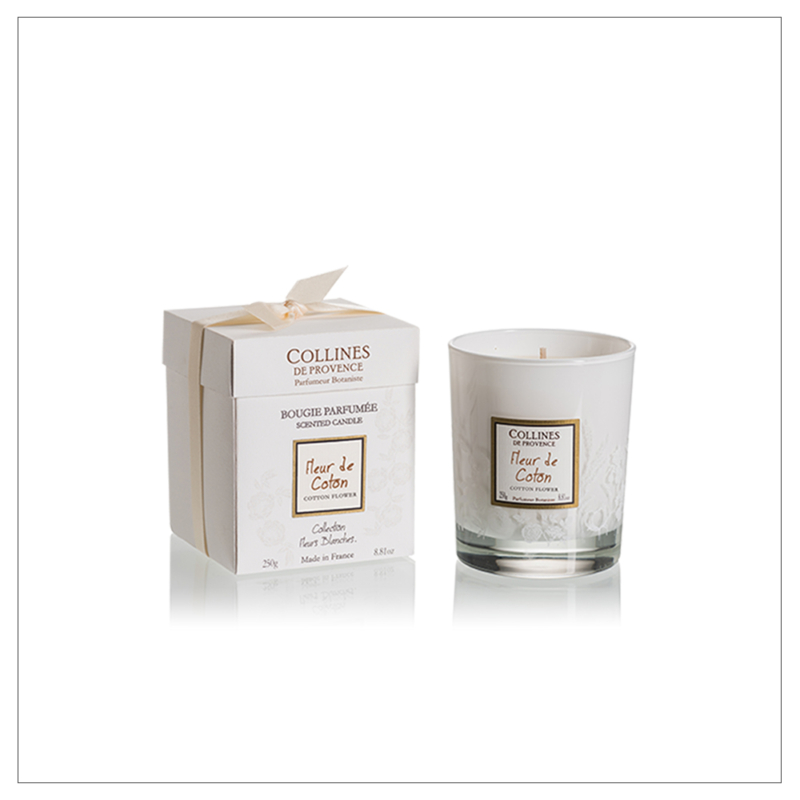 Gyapotvirág -  minőségi gyantából és 100%-os pamutkanócból készült gyertya lágy gyapotvirág illattal